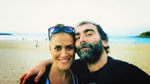 Disfrutando de la playa de Gros