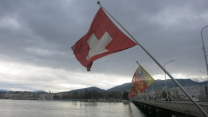 Patriotismo suizo en el lago