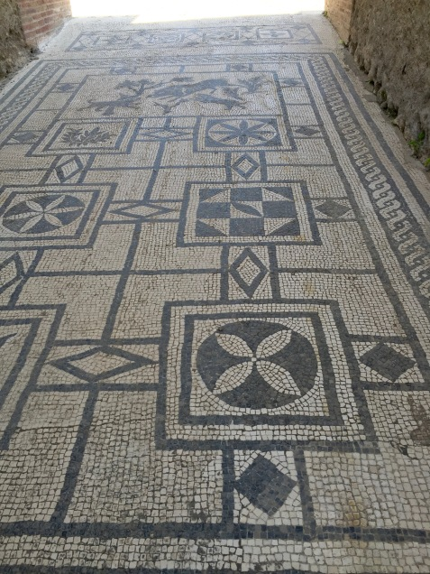 Detalle de mosaico en Pompeya
