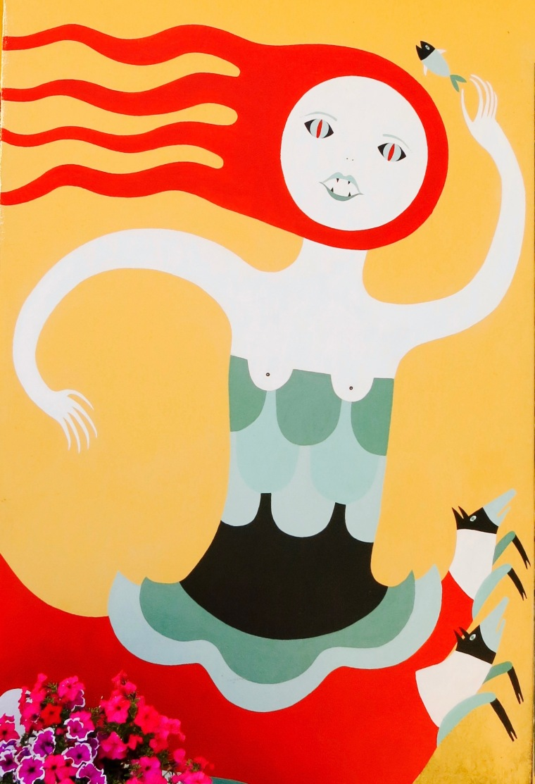 Pintura de Escila en el hotel en el que estuvimos (cuerpo de mujer, cola de pez y seis perros por patas)