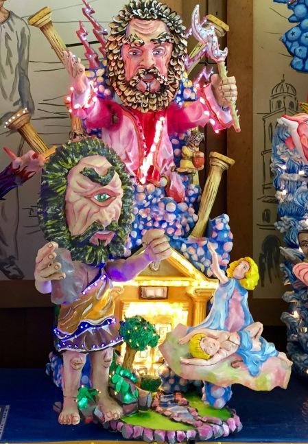 Una especie de falla de Polifemo y Galatea, en el museo del carnaval de Acireale