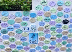 Mural de homenaje al ciclismo en Laigueglia